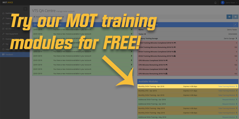 Free MOT annual training modules!