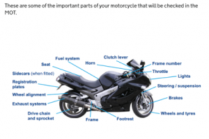 MOT Customer Service poster - Elements of a motorcycle that are inspected during an MOT