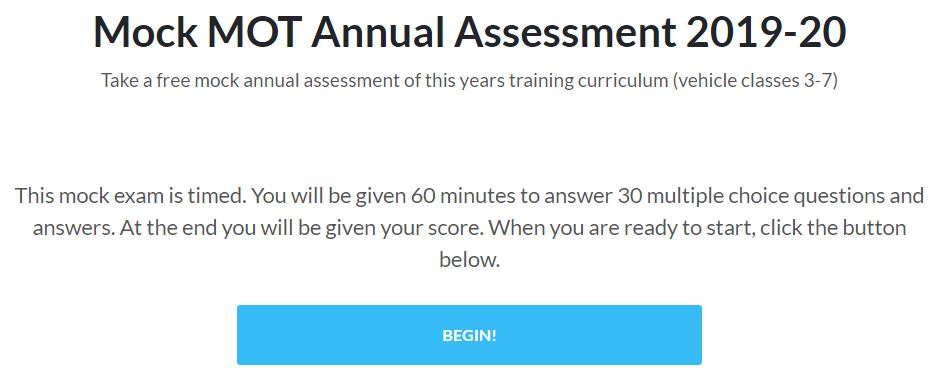 Mock Annual Assessment – MOT Sample Questions