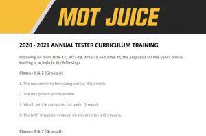 DVSA MOT Tester Annual Training curriculum 2020-21