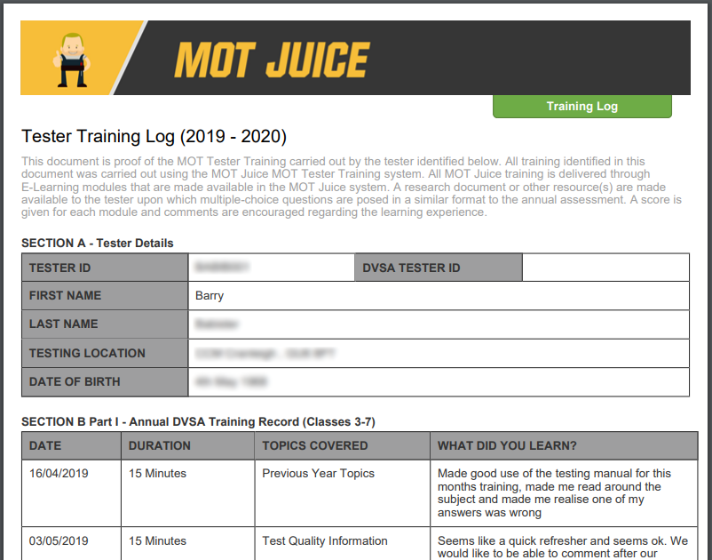 your MOT Juice training log automatically records all your training data ready for a ve visit