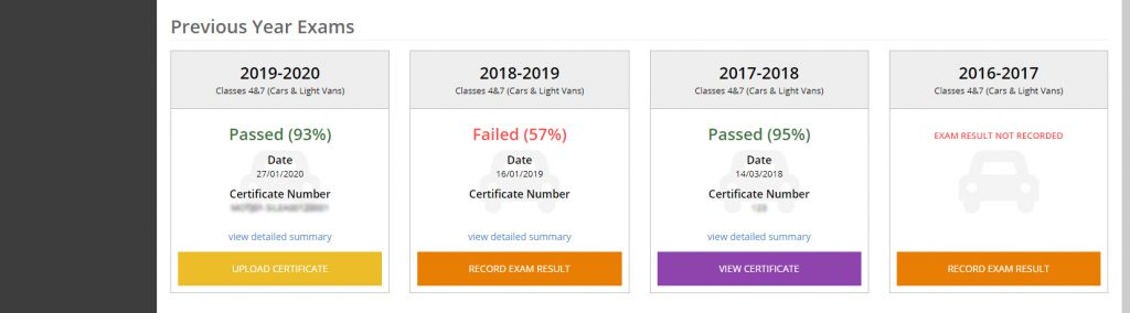 record historical dvsa annual exam data in the mot juice system
