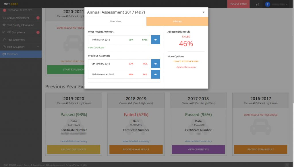 viewing dvsa annual assessment history with the new mot juice exam page