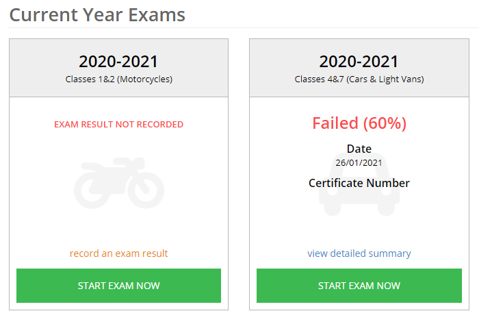 class 1-2 and class 4&7 2020-2021 dvsa annual exams
