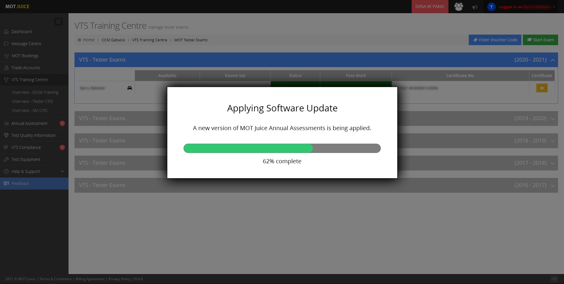 System Update – New Annual Assessment Page for Testers