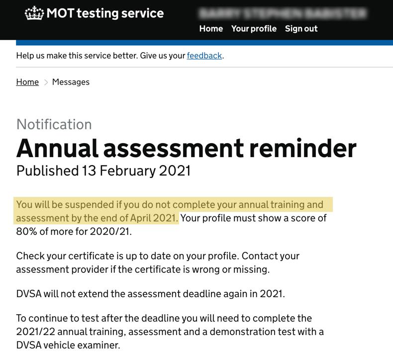 dvsa annual assessment reminder