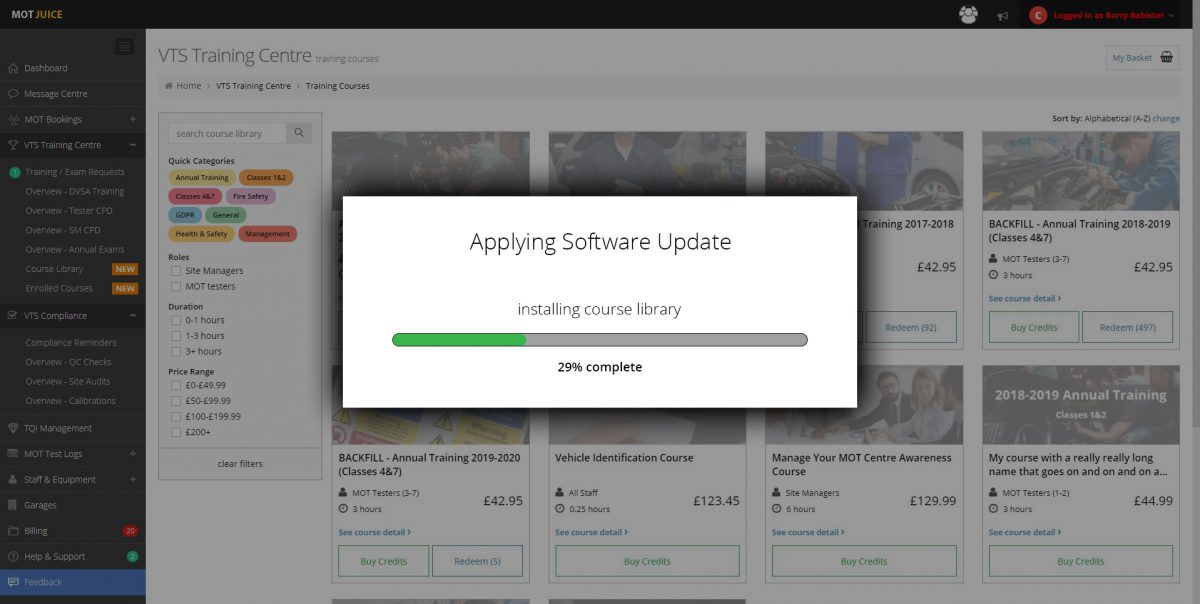 System Update – New Training Courses Library