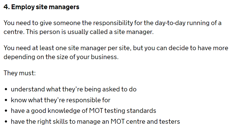 DVSA Manage your MOT Test Centre Guidance - Employ Site Managers