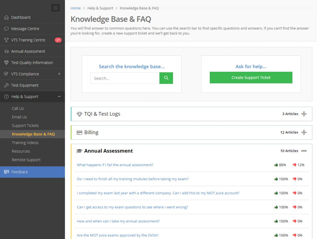 the mot juice knowledge base of frequently asked questions